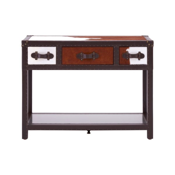 BROWN COWHIDE THREE DRAWER CONSOLE