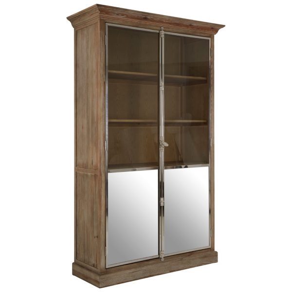 WASHED PINE GLAZED DISPLAY CABINET