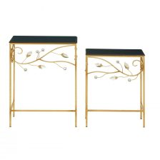 BLACK TOP SIDETABLES WITH FLORAL BUDS