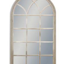 LARGE FRENCH GREY ARCH WINDOW MIRROR
