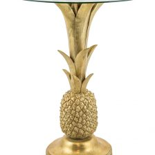 CARIBBEAN STYLE GOLD GLASS TOP SIDETABLE