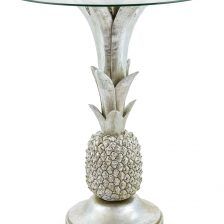 CARIBBEAN STYLE SILVER GLASS TOP SIDETABLE