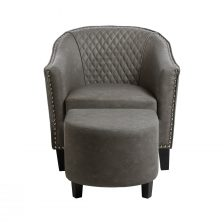 GREY FAUX LEATHER ARMCHAIR AND STOOL