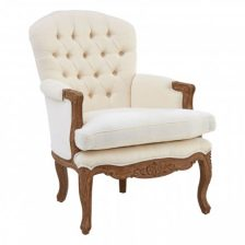 FRENCH STYLE MAHOGANY FRAME BUTTON BACK CHAIR