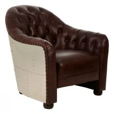 BROWN BUTTON BACK ARMCHAIR WITH METALLIC BACK