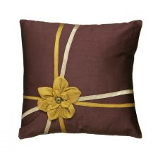 FLOWER AND RIBBON AMETHYST GOLD AND CREAM CUSHION