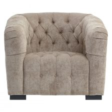 CONTEMPORARY TUFTED AND BUTTONED NATURAL ARMCHAIR