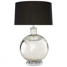 CLEAR GLASS BOWL WITH CHROME DETAIL TABLE LAMP