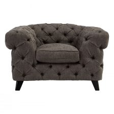 GREY BUTTONED CONTEMPORARY CHESTERFIELD ARMCHAIR