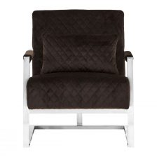DIAMOND QUILTED CONTEMPORARY BLACK AND STEEL ARMCHAIR