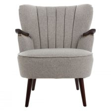 RETRO PUTTY RIBBED ARMCHAIR WITH WOOD ARMS