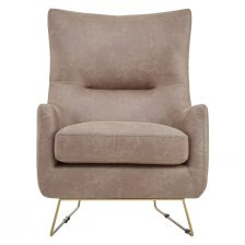 WINGED BROWN FAUX LEATHER CONTEMPORARY ARMCHAIR