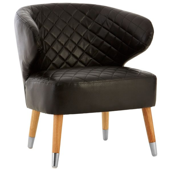 BLACK FAUX QUILTED LEATHER TUB CHAIR WITH BIRCH LEGS
