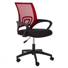 RED OFFICE CHAIR WITH FLEXIBLE BLACK ARMRESTS