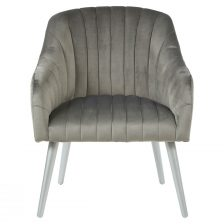 GREY RIBBED CONTEMPORARY ARMCHAIR WITH SILVER LEGS