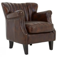 WINGED BROWN LEATHER CLUB CHAIR