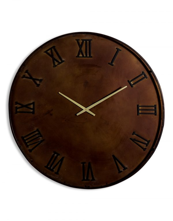 ANTIQUED IRON INDUSTRIAL WALL CLOCK
