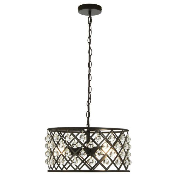 MATT BLACK INDUSTRIAL STYLE CRYSTAL PENDANT LAMP
