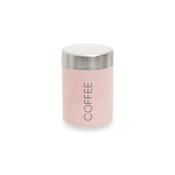 WHITE CONTEMPORARY STAINLESS STEEL COFFEE CANISTER