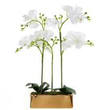 FAUX WHITE ORCHID IN GOLD RECTANGULAR POT