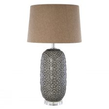 OVAL BROWN REFLECTIVE LAMP BASE WITH GREY LINEN SHADE
