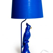 BLUE PARROT LAMP WITH METALLIC LINED BLUE SHADE