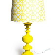 SUNSHINE YELLOW TURNED LAMP WITH GEOMETRIC PATTERN SHADE