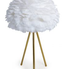 WHITE FEATHER LAMPSHADE ON A BRASS TRIPOD BASE