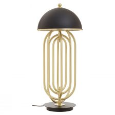 CONTEMPORARY GOLD AND BLACK REVOLVING TABLE LAMP