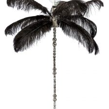 LARGE BLACK OSTRICH FEATHER TABLE LAMP WITH SILVER BASE