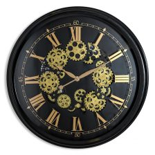 LARGE BLACK AND GOLD COGS WALL CLOCK