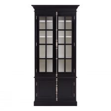 FRENCH COLONIAL STYLE BLACK FINISH MAHOGANY DISPLAY CABINET