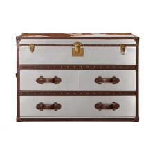 STAINLESS STEEL TRUNK WITH DRAWERS AND COWHIDE TOP