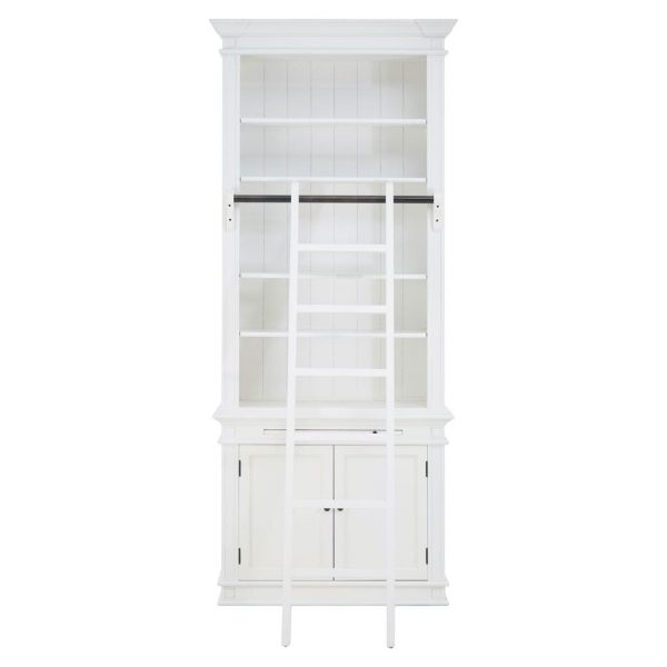 WHITE SINGLE LIBRARY BOOKCASE WITH LADDER