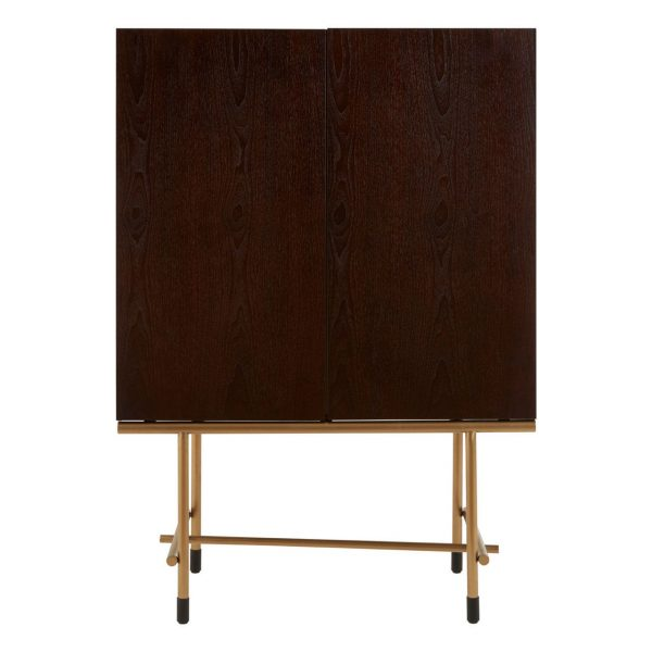 CONTEMPORARY DEEP WALNUT WINE CABINET WITH BRUSHED BRASS DETAIL