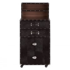 TAN LEATHER AND SUEDE DRINKS CABINET WITH STEEL FIITINGS
