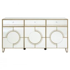 MIRRORED BUFFET WITH ANTIQUED MOTIFS AND CRYSTAL STYLE KNOBS