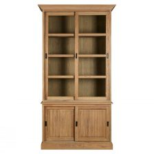 COLONIAL STYLE WASHED AMERICAN OAK GLAZED SLIDING DOOR BOOKCASE