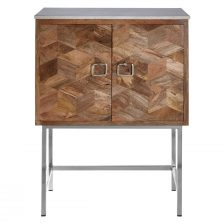 CABINET WITH MANGO WOOD DOORS CHROME BASE AND WHITE MARBLE TOP