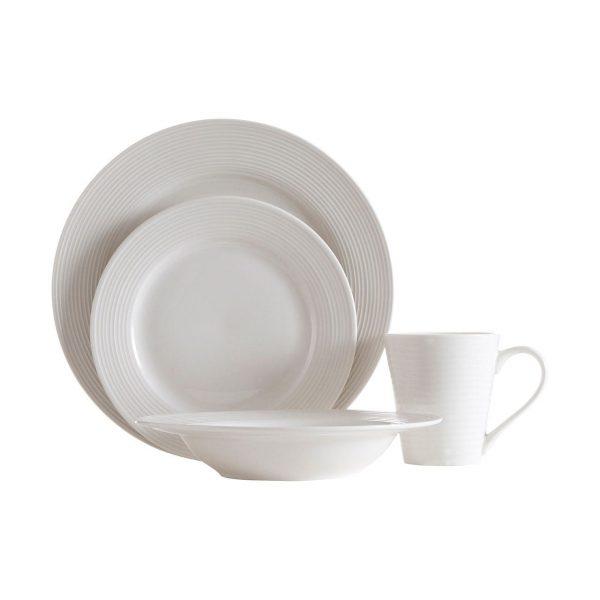 RIBBED TEXTURE WHITE PORCELAIN SIXTEEN PIECE DINNER SET