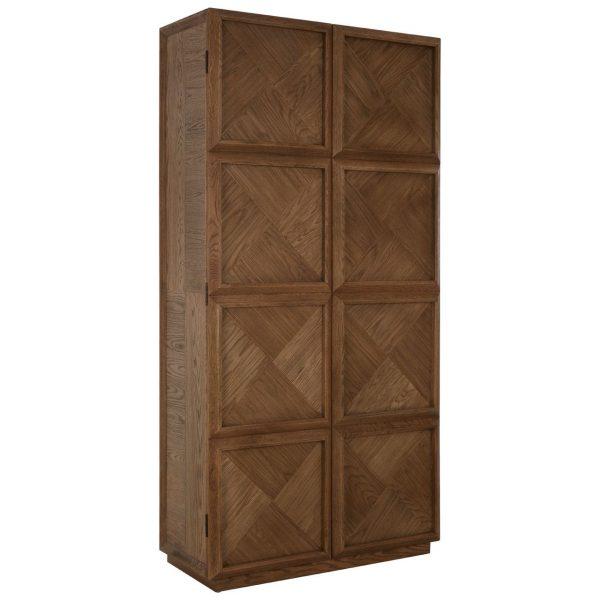 COLONIAL STYLE SOLID OAK PARQUET PATTERN DOOR CABINET