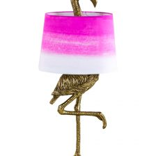 GOLD FLAMINGO TABLE LAMP WITH PINK/WHITE SHADE