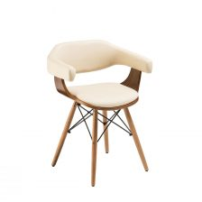CONTEMPORARY DECO CREAM UPHOLSTERED CARVER DINING CHAIR