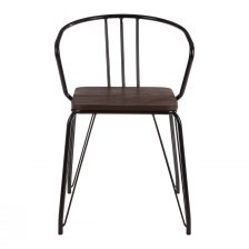 INDUSTRIAL STYLE BLACK DESK CHAIR WITH ELM SEAT
