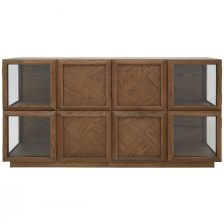 ECLECTIC PARQUET OAK DETAILED SIDEBOARD WITH GLASS DOORS